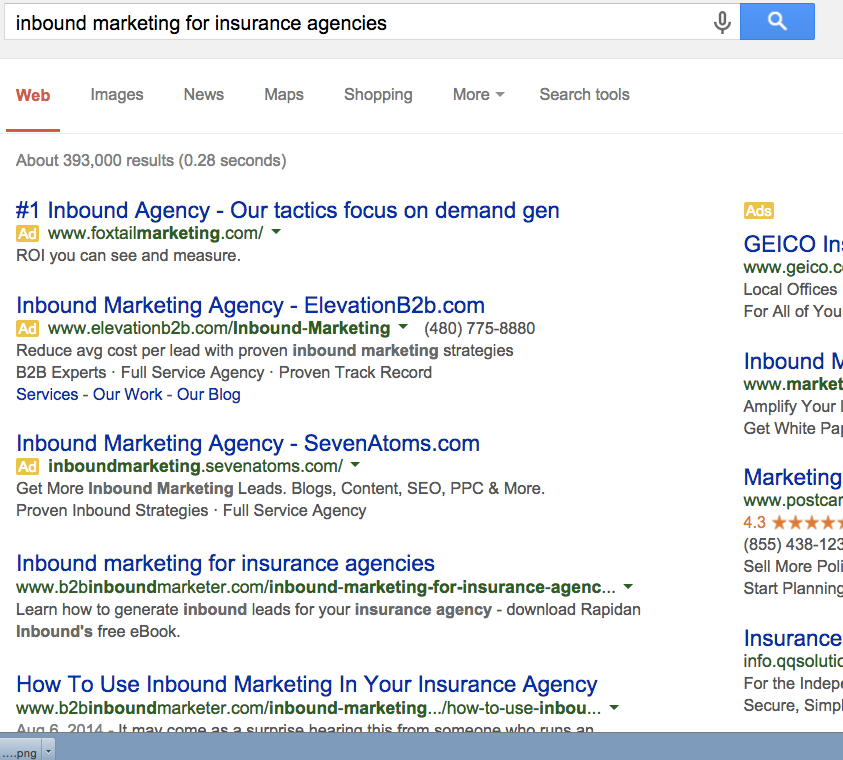 Inbound marketing for insurance agencies SEO results