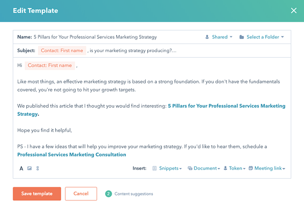 Sample HubSpot Sales Email Template