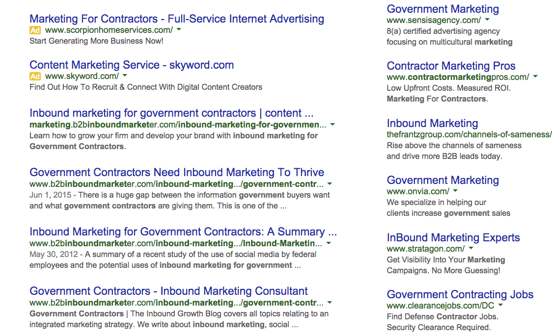 Inbound marketing for governement contractors SEO results